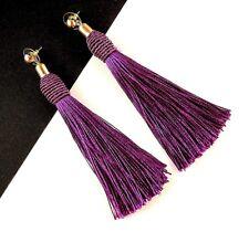Bohemian Style Dangle Earrings with Maroon Nylon Tassels & Golden Studs #930