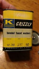 """(13) Grizzly W-78 Beveled Rubber Faucet Washers Size 3/4"""" with Original Tin"""
