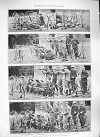 Original Old Antique Print 1889 Military Cycling Siers Weapons War Cavalry 19th