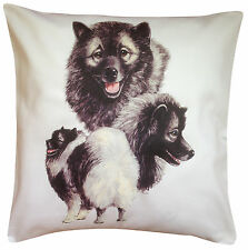 More details for keeshond group breed of dog themed cotton cushion cover - perfect gift