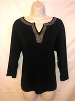 Women's RAFAELLA Black Beaded Embroidered 3/4 Sleeve V-Neck Top (Size XL)