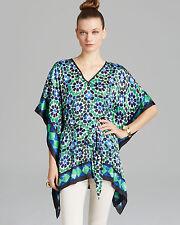 NWT MICHAEL Michael Kors Geometric Amalfi Green Belted Kimono Tunic Top S/M $110