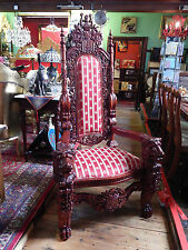 Hand Carved Gothic Huge Lion Wood Throne Chair Mahogany Hall Living Room H 6ft