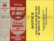 1941 Chevrolet Car Owners Manual with Envelope 41 Chevy Owner User Guide Book