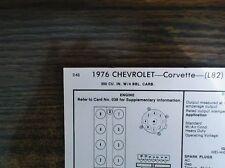 1976 Chevrolet Corvette L82 Models 350 V8 4BBL SUN Tune Up Chart Great Shape!