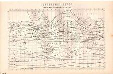 Mapa de impresión de 1880 ~ año de temperatura isotérmico líneas media