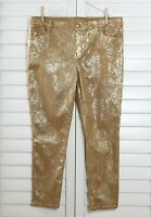 CHICO'S NWT $109 Platinum Pull On Gold Foiled Jeggings Jeans Size 3 US 16 / XL