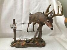 """Danbury Mint """"Out Of Bounds"""" Deer Over Fence- Magnificent Whitetails"""