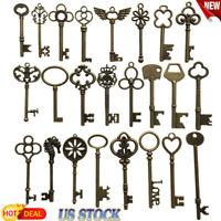 69 Pcs Set Antique Vintage Old Look Ornate Skeleton Key Fancy Heart Bow Decor US