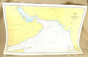 1977 Vintage Map of The Arabian Sea Pakistan Iran Oman UAE Kuwait Saudi Arabia