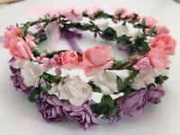 Women Flower Girl Boho Party paper Crown hair Band Tiara headband Garland Wreath