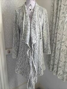 FAT FACE Natural & Black Marl Cotton Soft Drape Waterfall Cardigan Size 12-14 UK