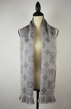 NEW LV Wool/Silk Logomania Scarf 100% Authentic M74742 Louis Vuitton PEARL GRAY