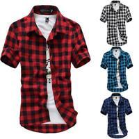 Fashion Mens Summer Casual Dress Shirt Plaids Check Short Sleeve Shirts Tops Tee