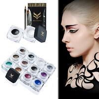 1 Set 2 Color Pro Waterproof Makeup Kit Eyeliner Gel With Brush Beauty Tools Set