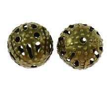 150 Filigran Metallperlen Rund 6mm Antik-Bronze Zwischenperlen Spacer M118