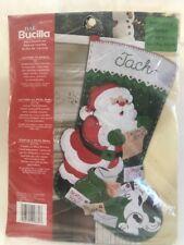 Bucilla Plaid Felt Christmas Stocking Kit  Letters To Santa B&W Puppy Dog New