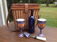 WICKER PICINIC BASKET, WINE GOBLETS, CHEESE SLICER, BOTTLE, ROMANTIC DATE