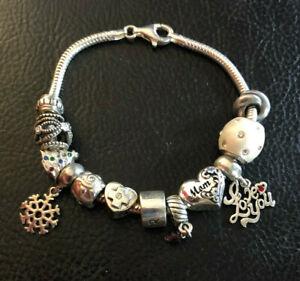 """Sterling Silver Bracelet Charm Snake Slider MOM DAUGHTER Love 7.5"""" 26g 925 #1014"""