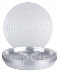 """Curtis Wagner Round Clear Vinyl 14"""" Plant Saucer - 25 Pack"""