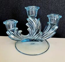 Fostoria Glass Baroque Azure Blue Triple 3 Light Candle Holder Candlestick