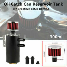 Black Aluminum Engine Oil Pot Catch Can Reservoir Tank w/Breather Filter Baffled