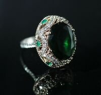 925 Sterling Silver Handmade Antique Turkish Emerald Ladies Ring Size 6-10