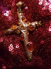 Sehr schöner XXL Kreuz Anhänger Sterling Silber 925 mit14 Bernstein 13 Gramm NEU