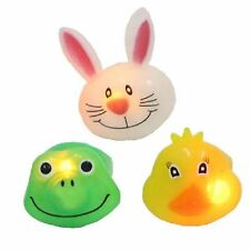Flashing Silicone ANIMAL RINGS Light Up Rabbit Frog Duck LED Face Jelly Kids Fun