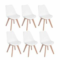 6er Set Esszimmerstühle Küchenstühlen mit Ledersitz retro Bürostuhl Weiß Stuhle