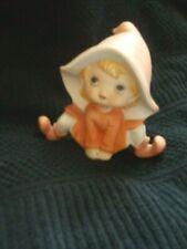 Pixie Elf Fairy Ceramic Figurine Homco Home Interior 5212 Blonde Hair Big Hat