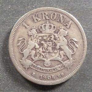 Sweden, Silver 1 Krona, 1904 E.B., toned