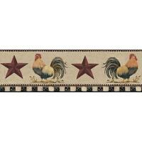 Wallpaper Border Country Roosters Red Stars on Cream Crackle Black & Cream Check