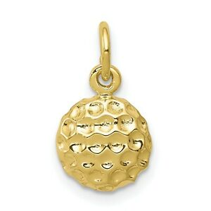Solid 10k Yellow Gold Polished Concave Golf Ball Charm Pendant 15 mm x 11 mm