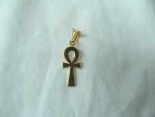 "Egyptian Ankh Key Of Life 18K Yellow Gold Pendant 1.2"" Long #40"
