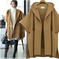 Womens Warm Cloak Parka Casual Coats Cape Hooded Shawl Long Jacket Outwear Large