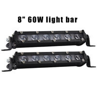 2x 8inch 4D Slim LED Work Light Bar Spot Beam Off road ATV SUV Auto Driving Lamp