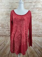 Athleta Womens Red Lace Up Jacquard Long Sleeve Tunic Top Size Medium