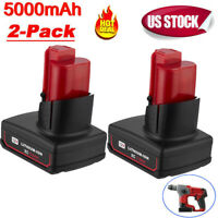2 PACK 12V for Milwaukee 48-11-2460 M12 XC Lithium Battery 48-11-2440 2401 5.0Ah