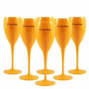 Veuve Clicquot Yellow Label Acrylic Champagne Glasses Orange x 6 New