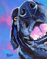 Labrador Retriever Art Print from Painting | Black Lab Gifts, Portrait, 8x10
