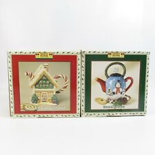 Debbie Mumm Mini Teapot Collector Series Lot Sweet Gingerland & Snowglobe NEW