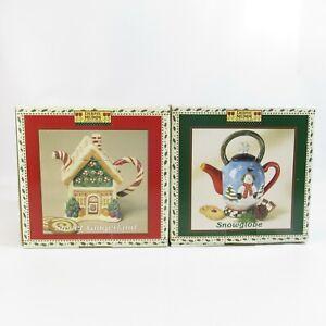 Debbie Mumm Mini Teapot Collector Series Lot Sweet Gingerland & Snowglobe NEW