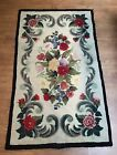 """Antique Hand Hooked Rug Wool Florals Foliate Scrolls Cream Ground Red Roses 61""""L"""