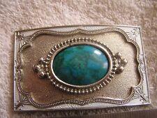 Vintage Belt Buckle Greenish Stone