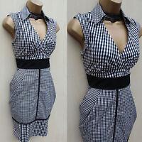 Rare KAREN MILLEN Cotton Black White Check Cocktail Wiggle Shirt Dress 8 UK