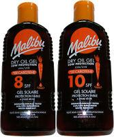 2x MALIBU WATER RESISTANT DRY OIL GEL SUN TAN LOTION UVA & UVB - SPF 8 + 10 GEL