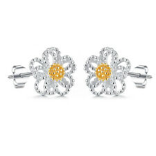 Women Jewelry Elegant 925 Sterling Silver Crystal Ear Stud Daisy Flower Earrings