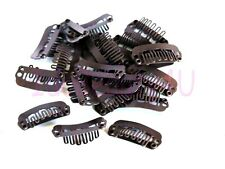 10 x HAIR PIECE CLIP EXTENSIONS SNAP CLIPS SM DARK BROWN 2.2 cm NO SILICONE