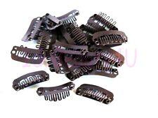 10 x HAIR PIECE CLIP EXTENSIONS SNAP CLIPS SM DARK BROWN 2.2 cm NO SILICONE